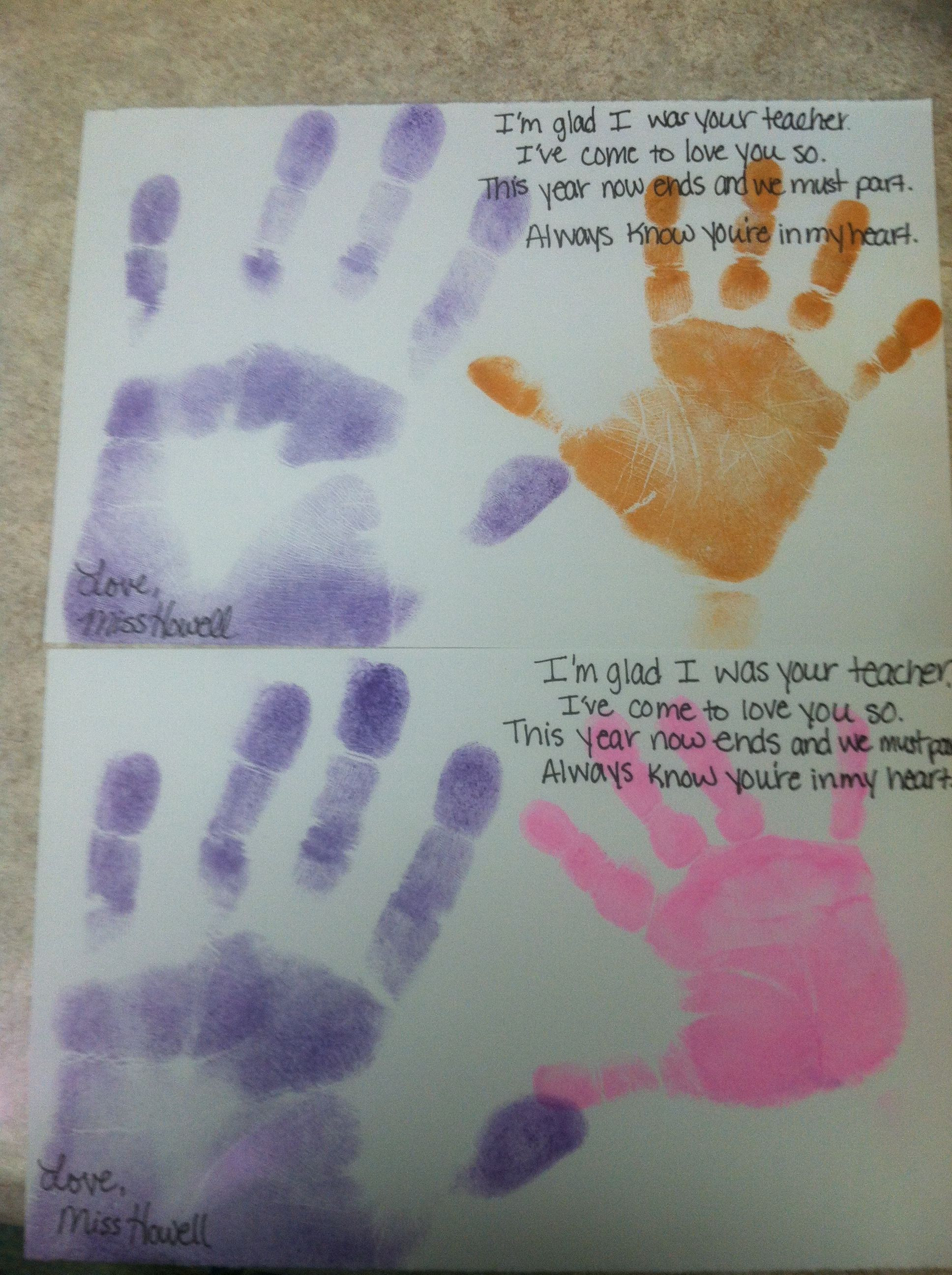 End Of The Year Crafts For Preschoolers  End of the school year craft handprint and poem