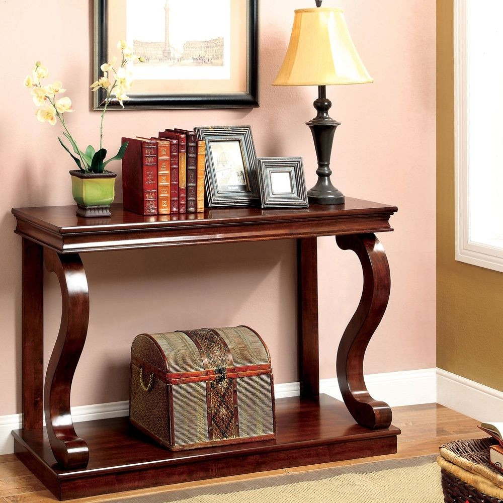 Best ideas about Entryway Console Table . Save or Pin Elegant Console Table Curved Wood Accent Entry Solid Foyer Now.