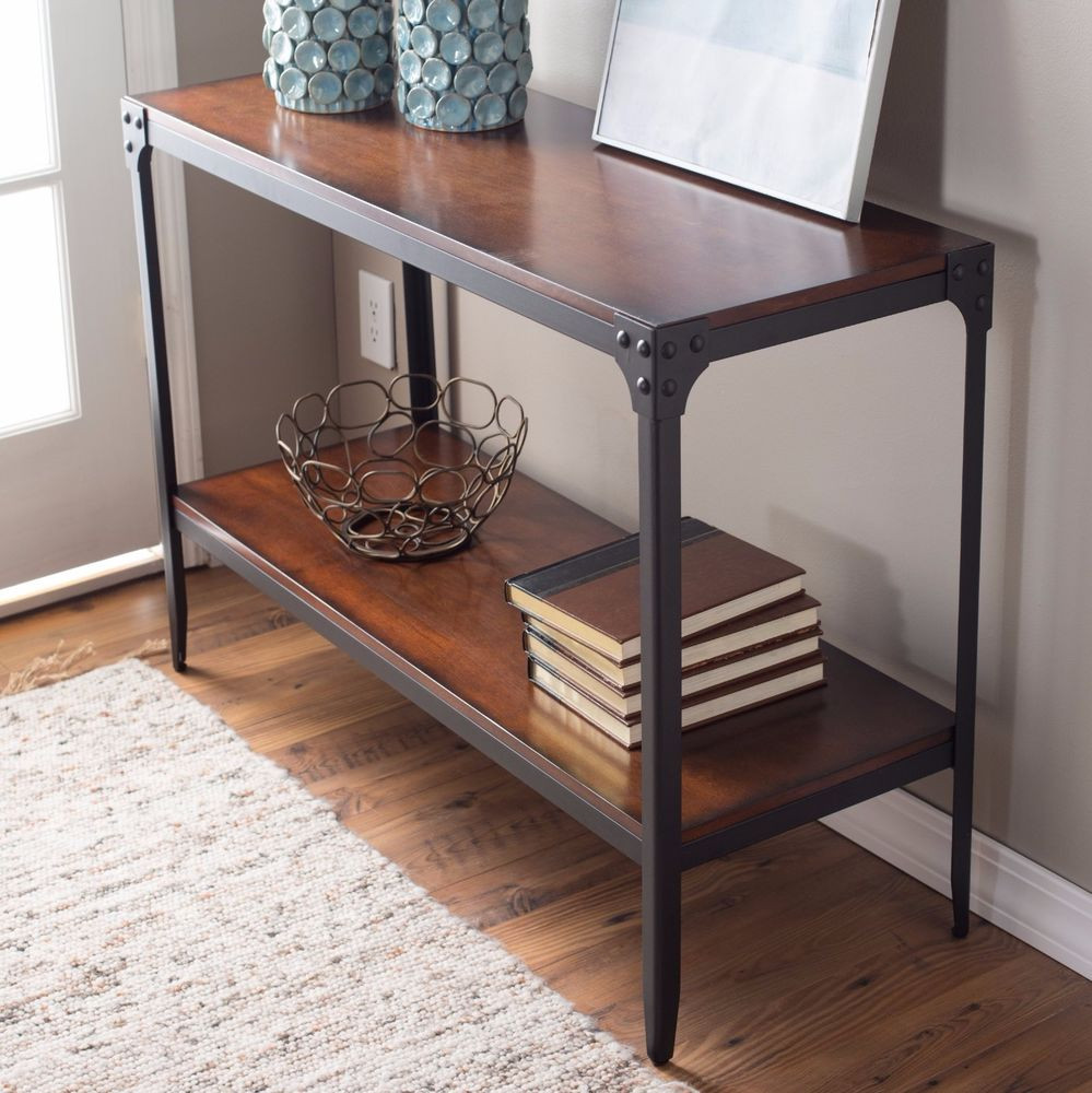 Best ideas about Entryway Console Table . Save or Pin Industrial Console Table Espresso Rustic Hallway Furniture Now.