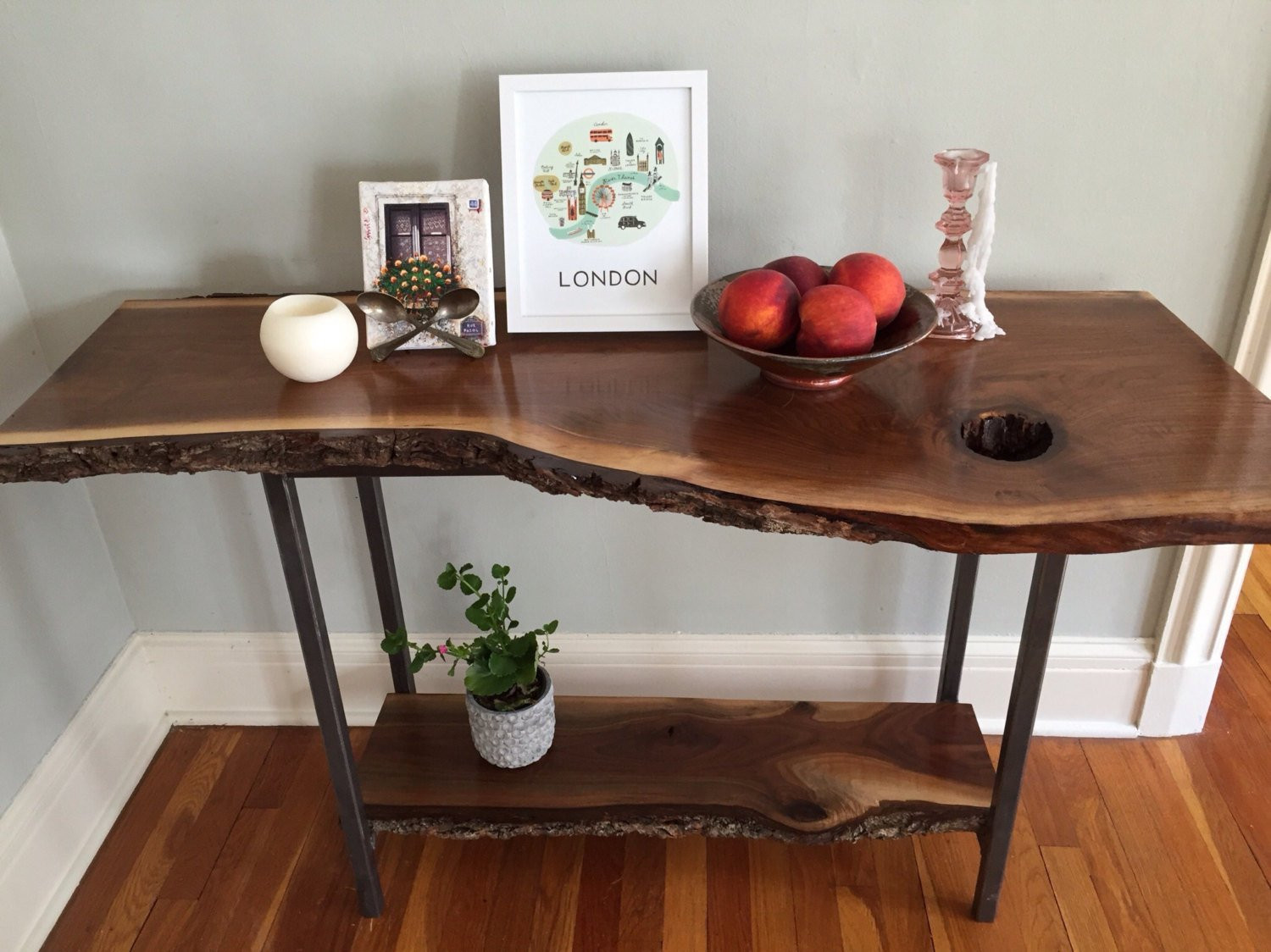 Best ideas about Entryway Console Table . Save or Pin Live Edge Console Table Black Walnut Sofa Table Entryway Table Now.