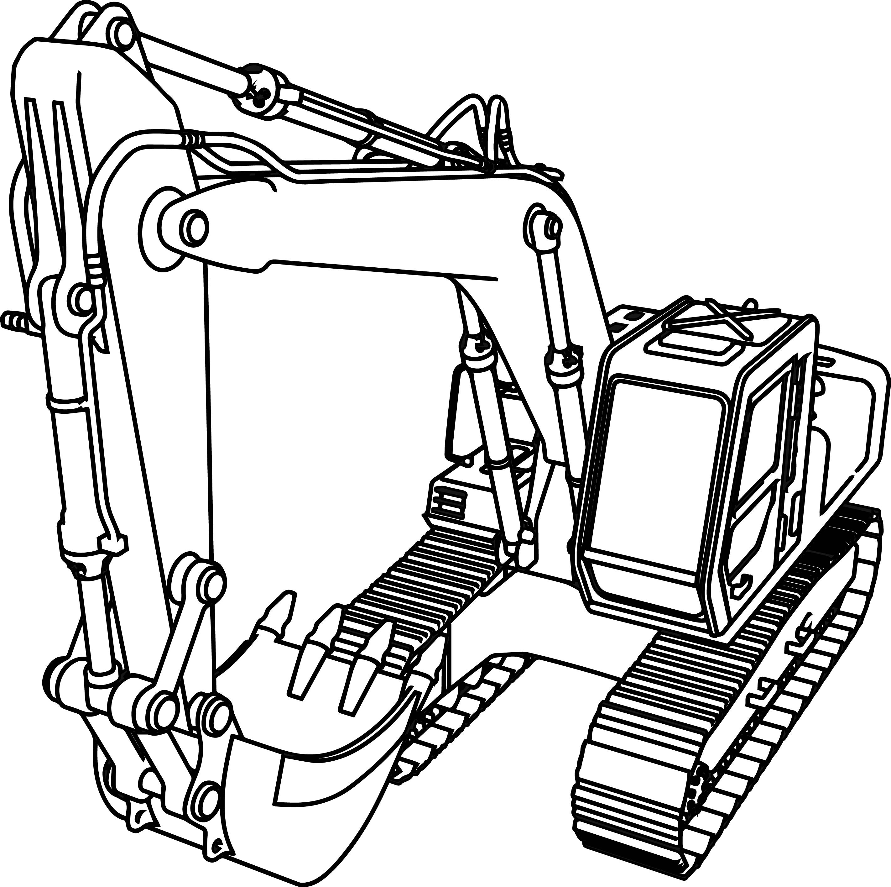 Excavator Coloring Pages  Good Excavator Coloring Page