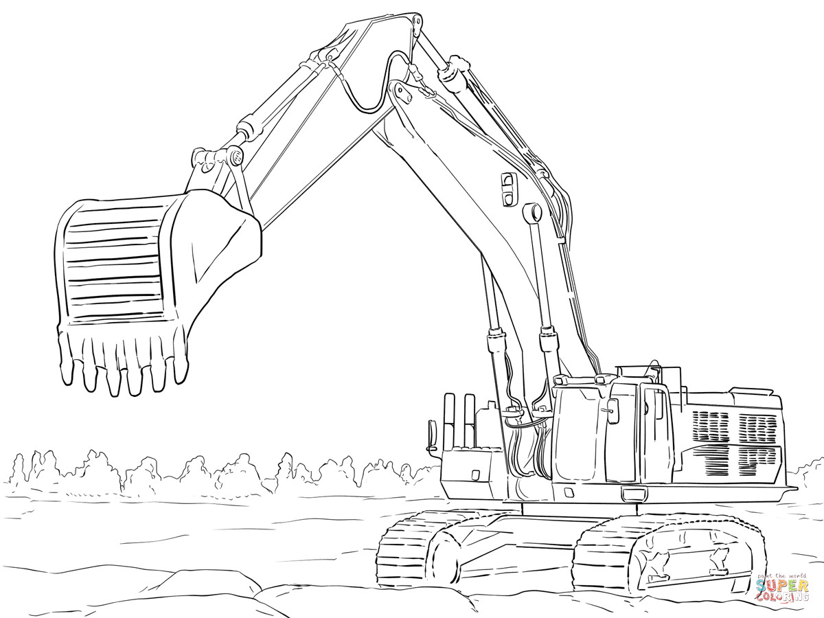 Excavator Coloring Pages  Caterpillar Excavator coloring page