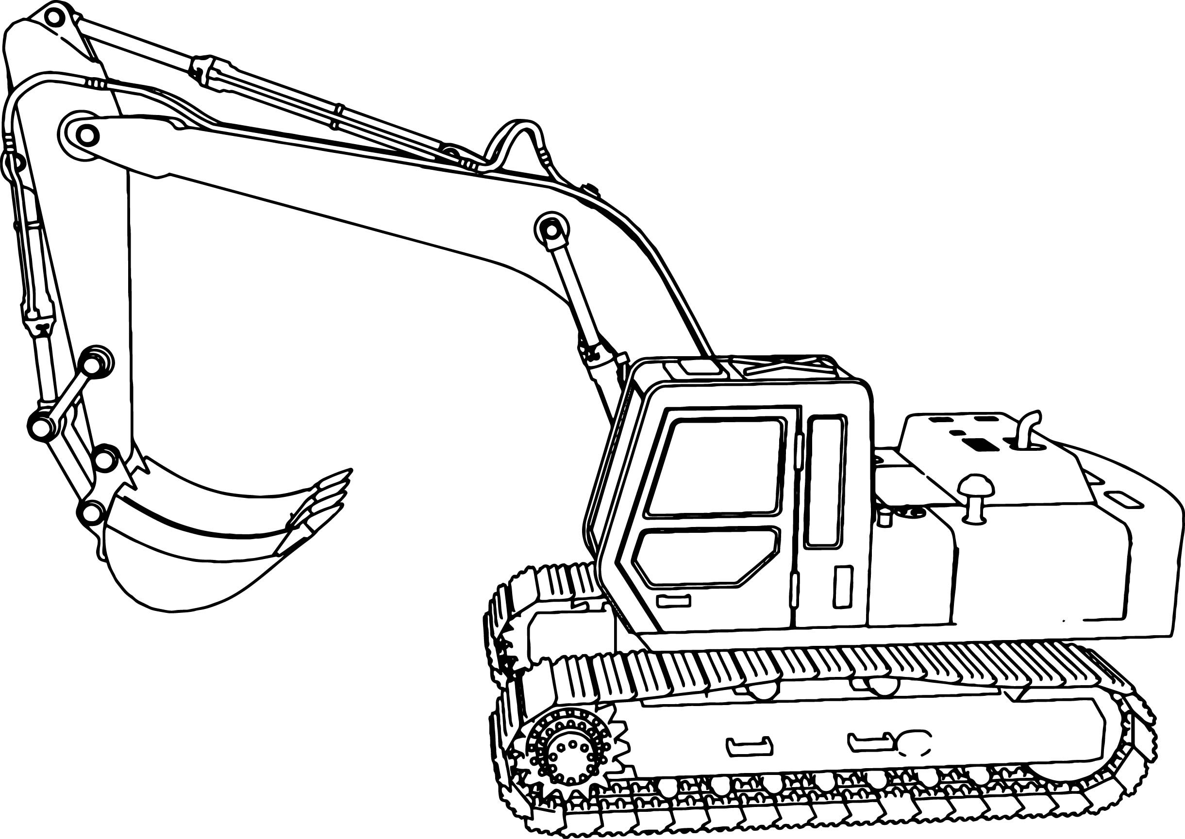 Excavator Coloring Pages  Excavator Side Coloring Page