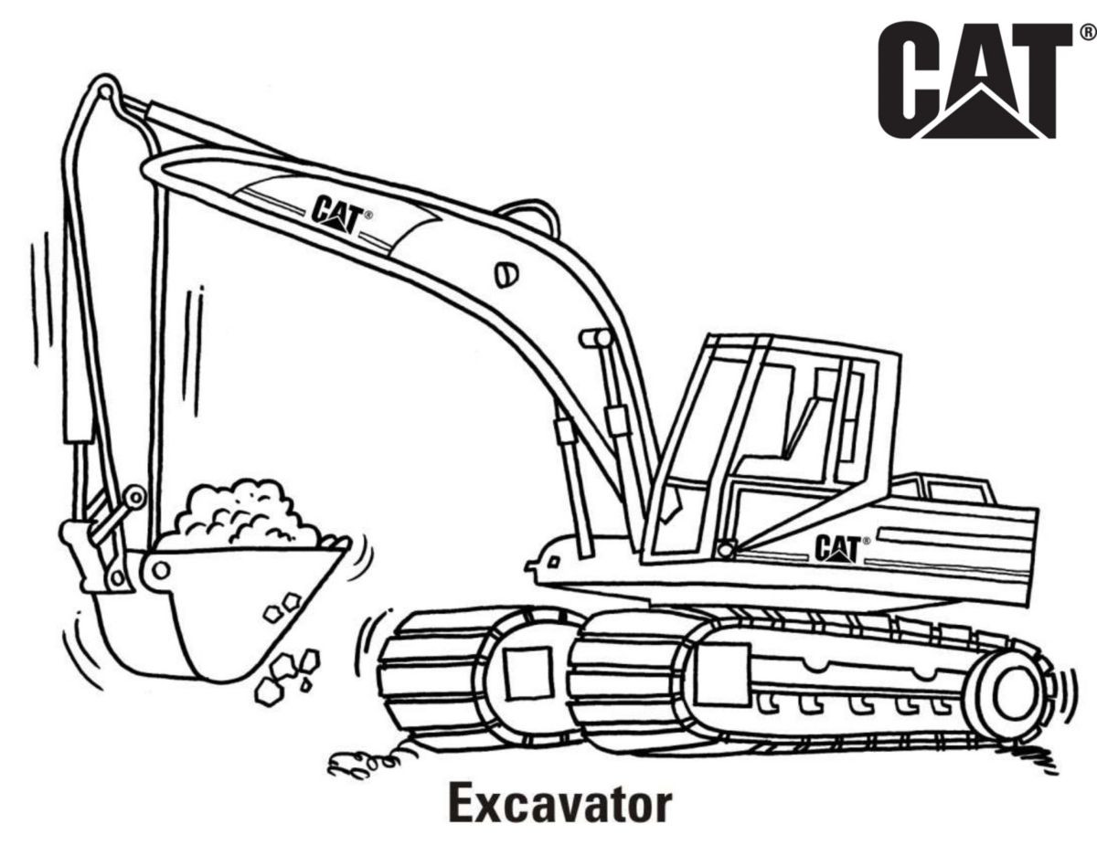 Excavator Coloring Pages  Cat Coloring Pages