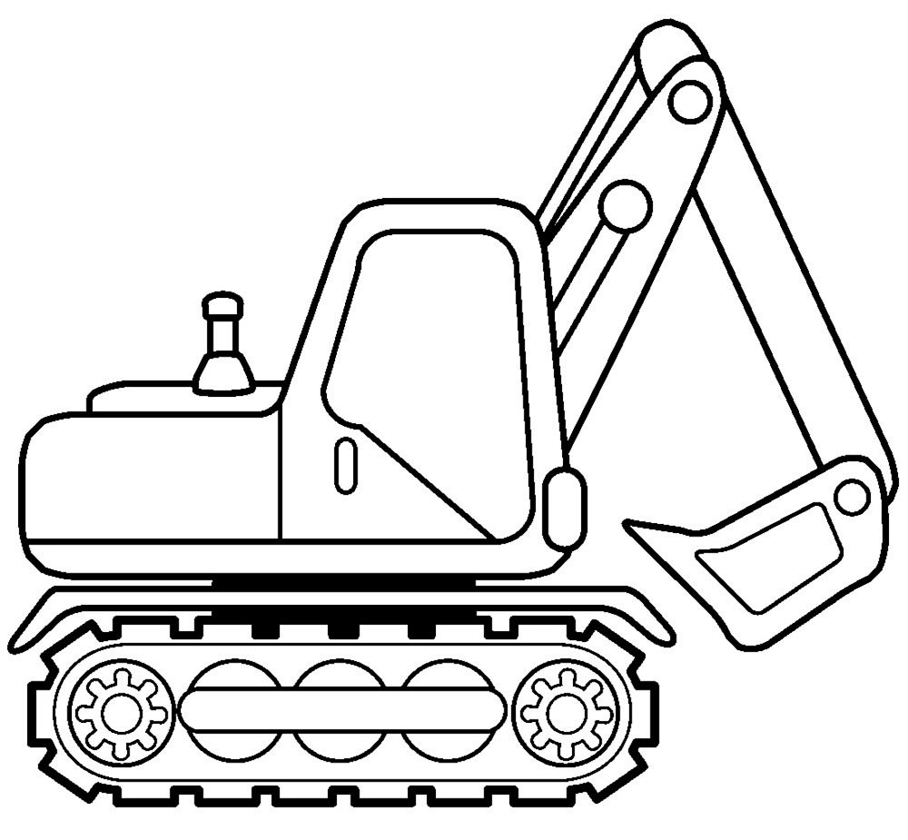 Excavator Coloring Pages  Excovator clipart coloring page Pencil and in color