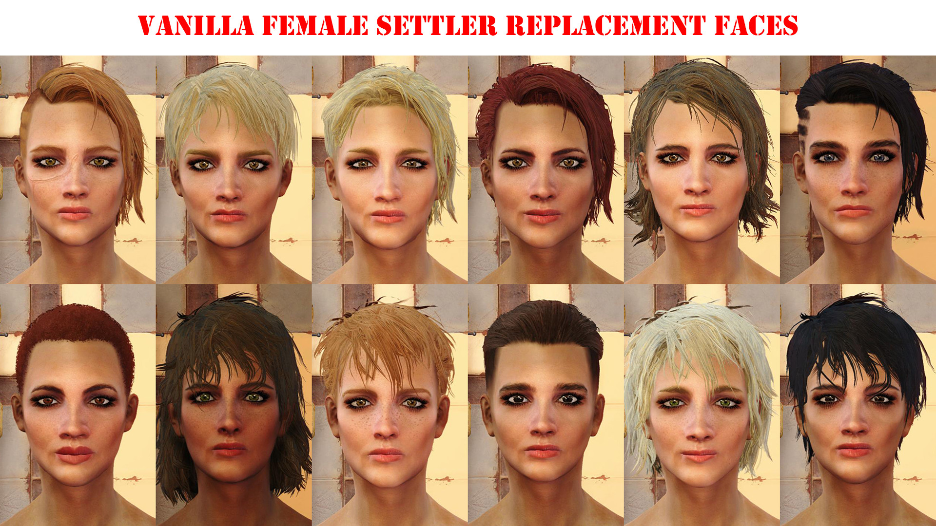 Fallout 4 Female Hairstyles List  Vanilla Settler Replacements Fallout 4 Mod