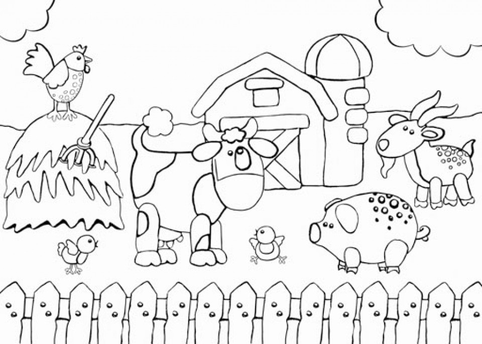 Farm Coloring Sheet  Get This Free Farm Coloring Pages F5W4W