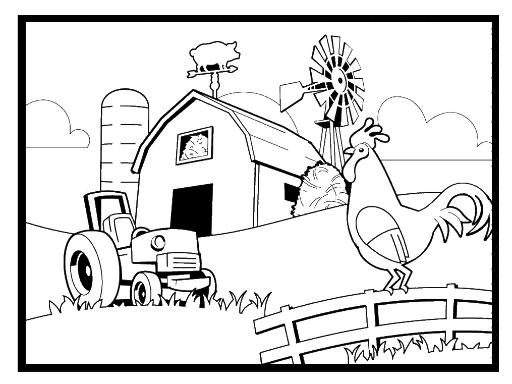 Farm Coloring Sheet  Farm Coloring Pages
