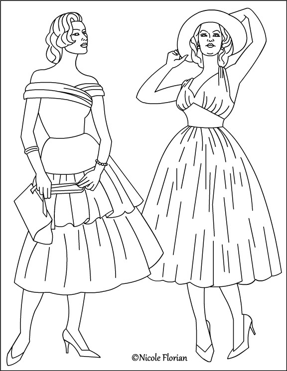 Fashion Adult Coloring Books  Nicole s Free Coloring Pages Vintage Fashion Coloring pages