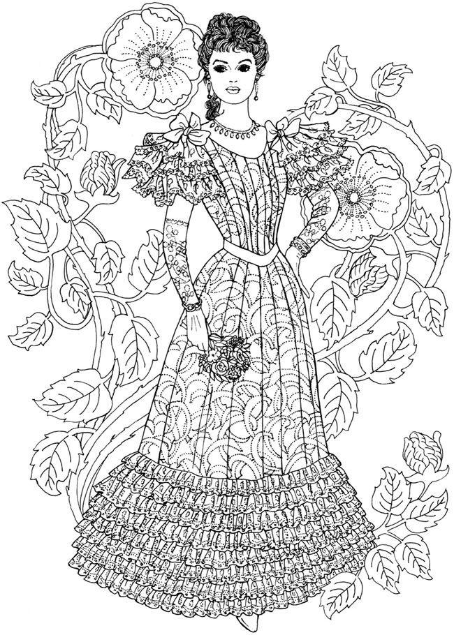 Fashion Adult Coloring Books  Wel e to Dover Publications Creative Haven Art Nouveau