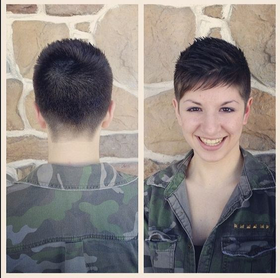 Female Army Hairstyles  military inspired shearing Pixie cut