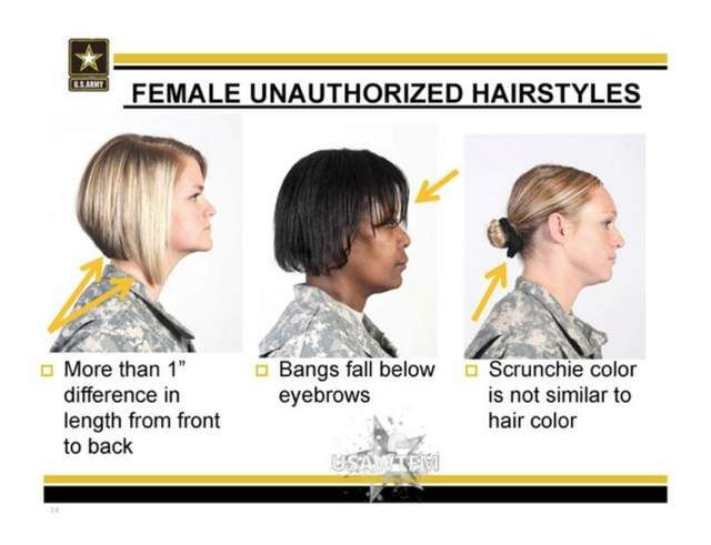 Female Authorized Hairstyles Army  Army Unauthorized Hairstyles for Women I still try to