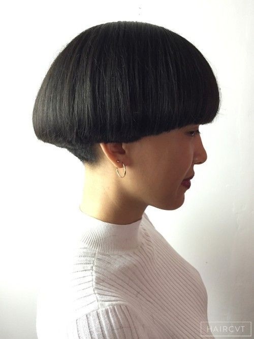 Female Bowl Haircuts  Female Medium Dark Straight Thick Graphique Bol