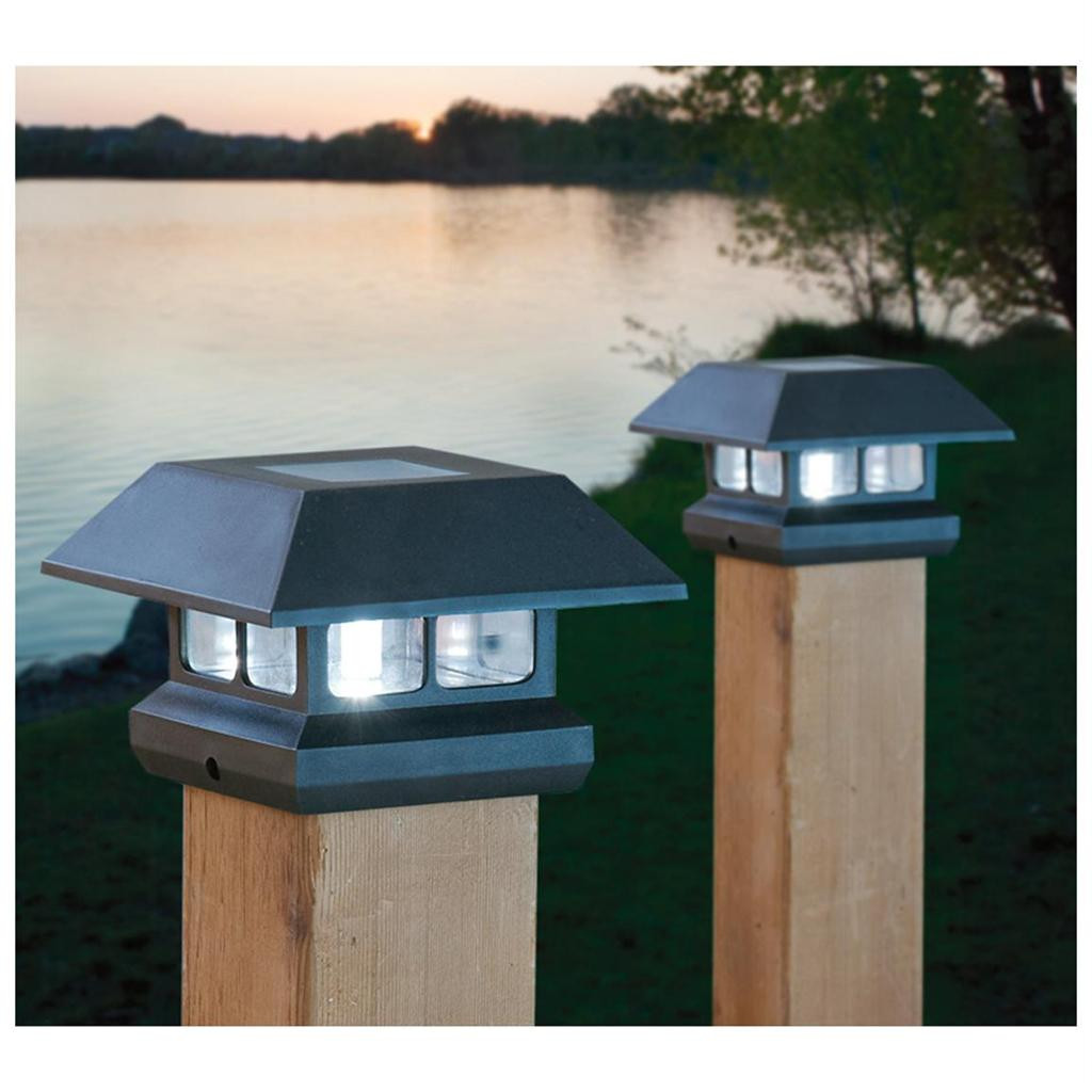 """Best ideas about Fence Post Lights . Save or Pin 2 SOLAR 4"""" POST LIGHTS Outdoor Landscape FENCE RAILING Now."""