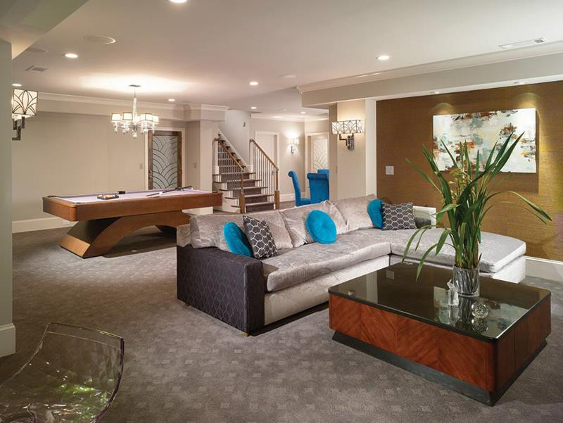 Best ideas about Finish Basement Ideas . Save or Pin 22 Finished Basement Contemporary Design Ideas Now.