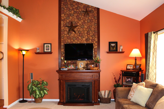 Best ideas about Fireplace Accent Walls . Save or Pin Fireplace Accent Wall in Faux River Rock Transitional Now.
