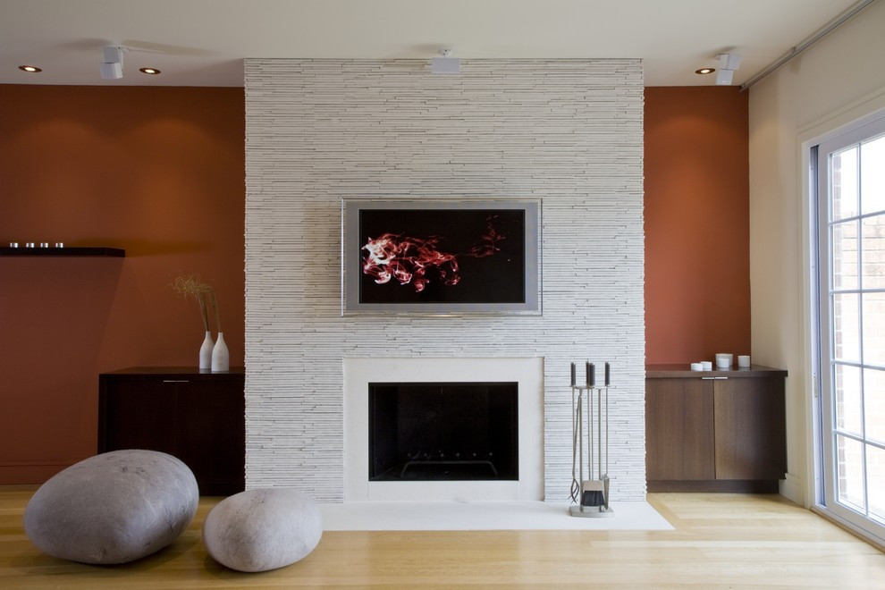 Best ideas about Fireplace Accent Walls . Save or Pin wall mounted fireplace ideas Living Room Contemporary with Now.