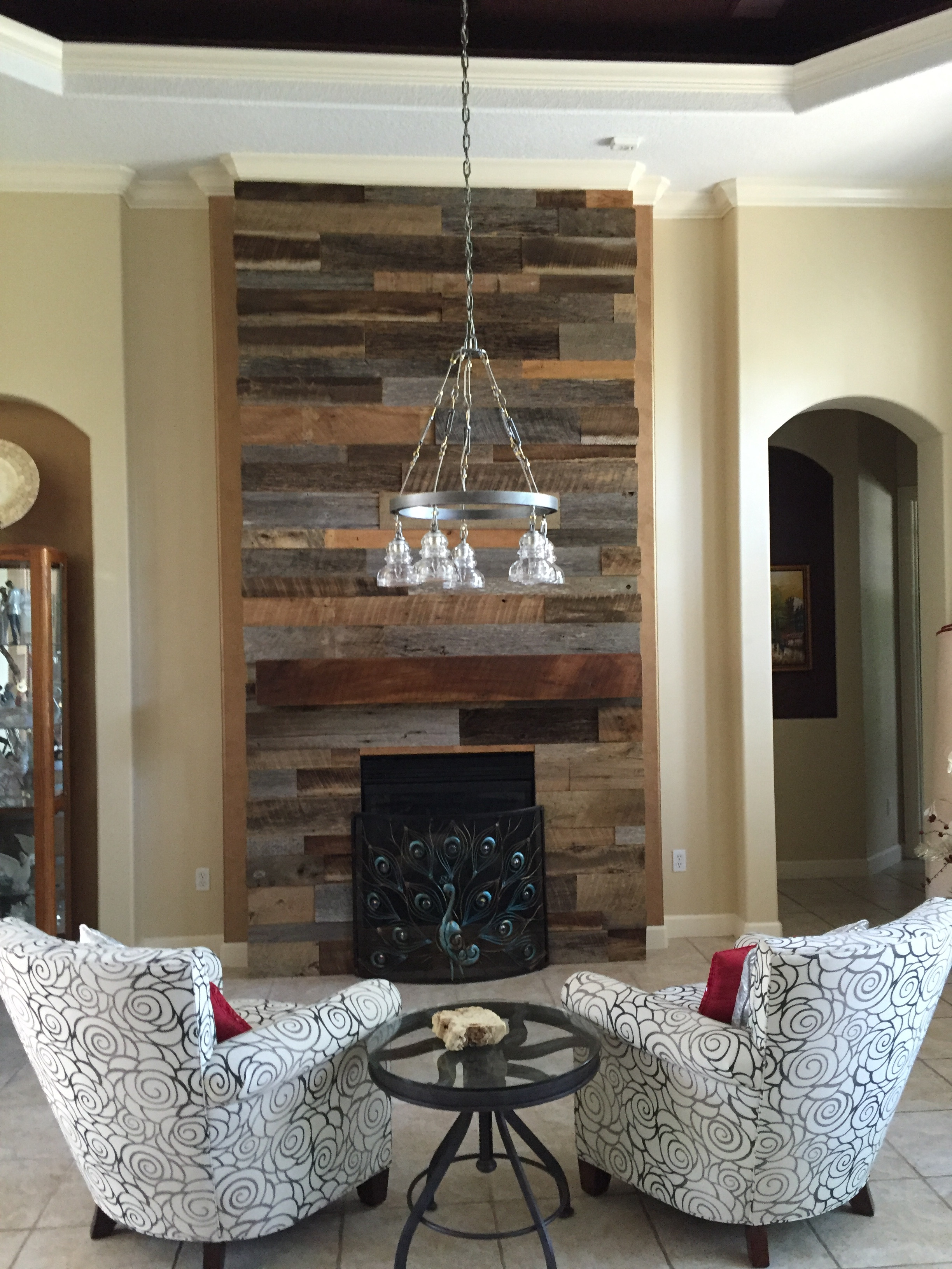Best ideas about Fireplace Accent Walls . Save or Pin Lynn s Reclaimed Wood Accent Wall with Custom Mantle Now.