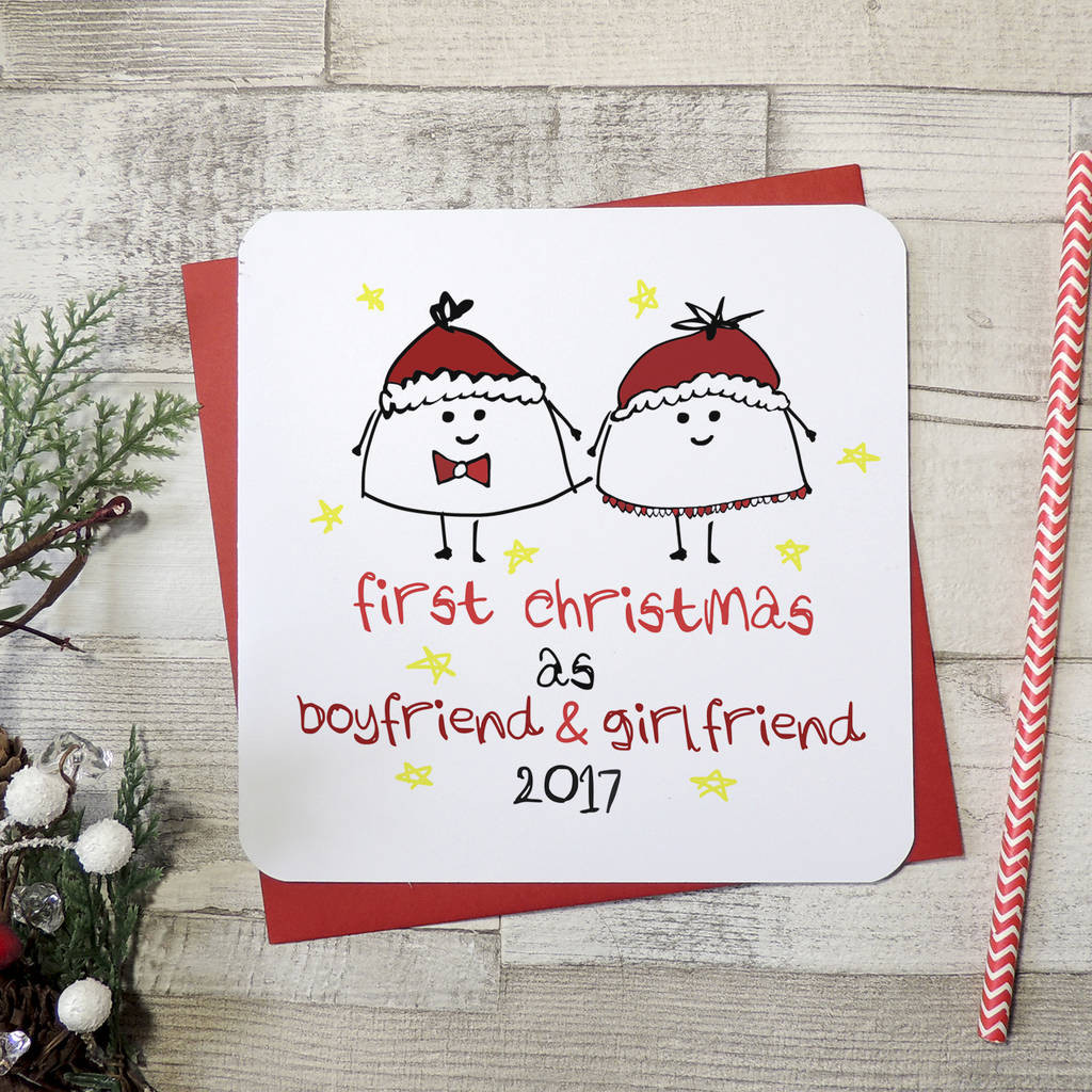 First Christmas With Girlfriend Gift Ideas  first christmas as boyfriend and girlfriend xmas card by