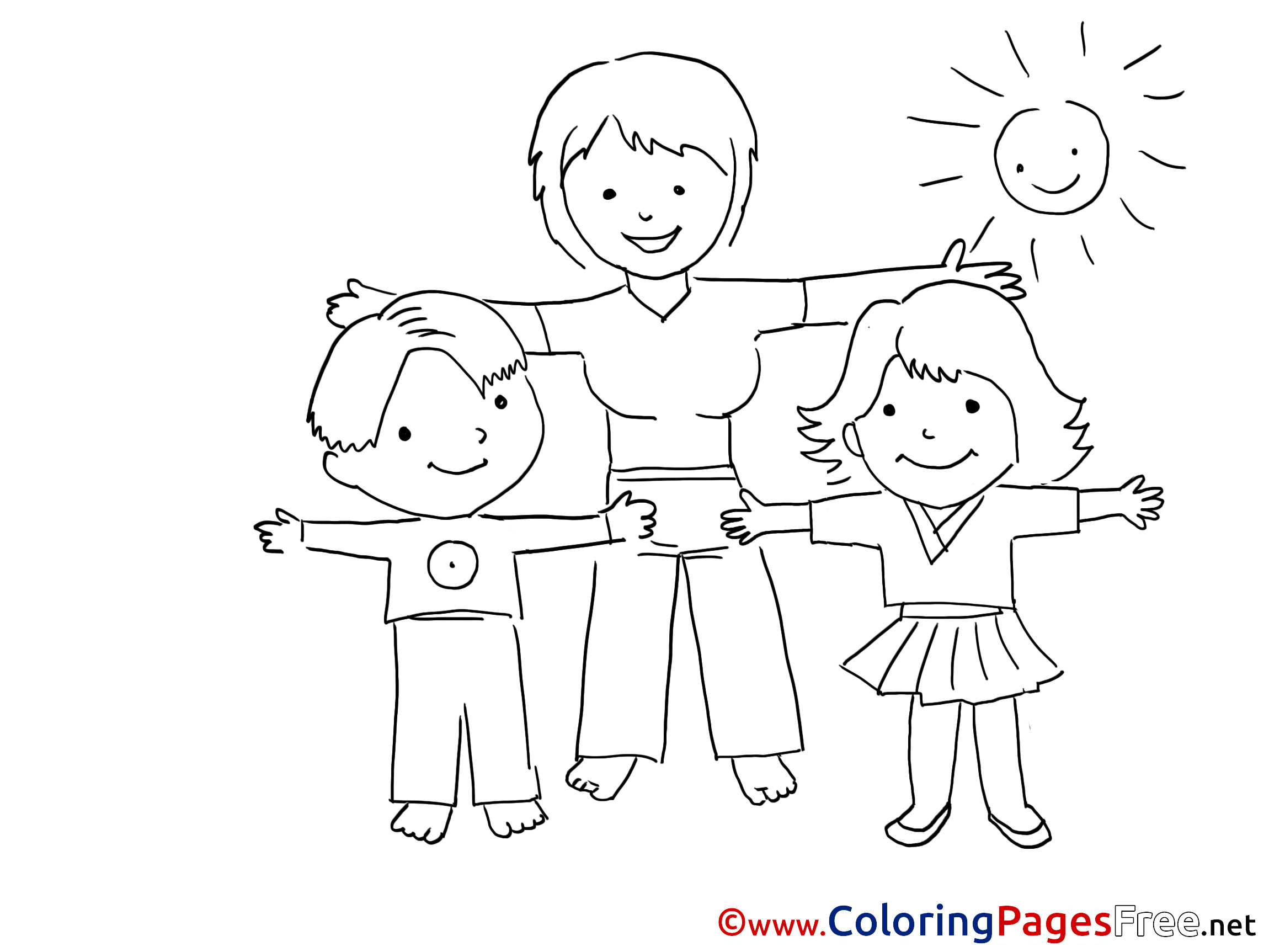 Fitness Coloring Pages For Kids  Exercise Kindergarten Kids free Coloring Page