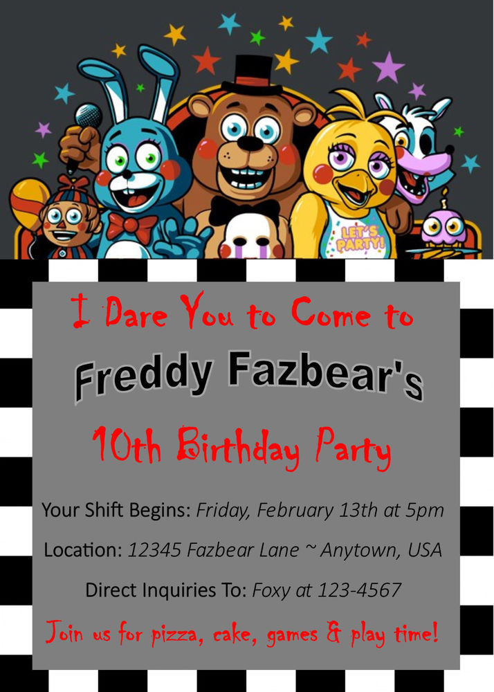 Five Nights At Freddy's Birthday Party  Five Nights At Freddy s Custom Birthday Invitation You