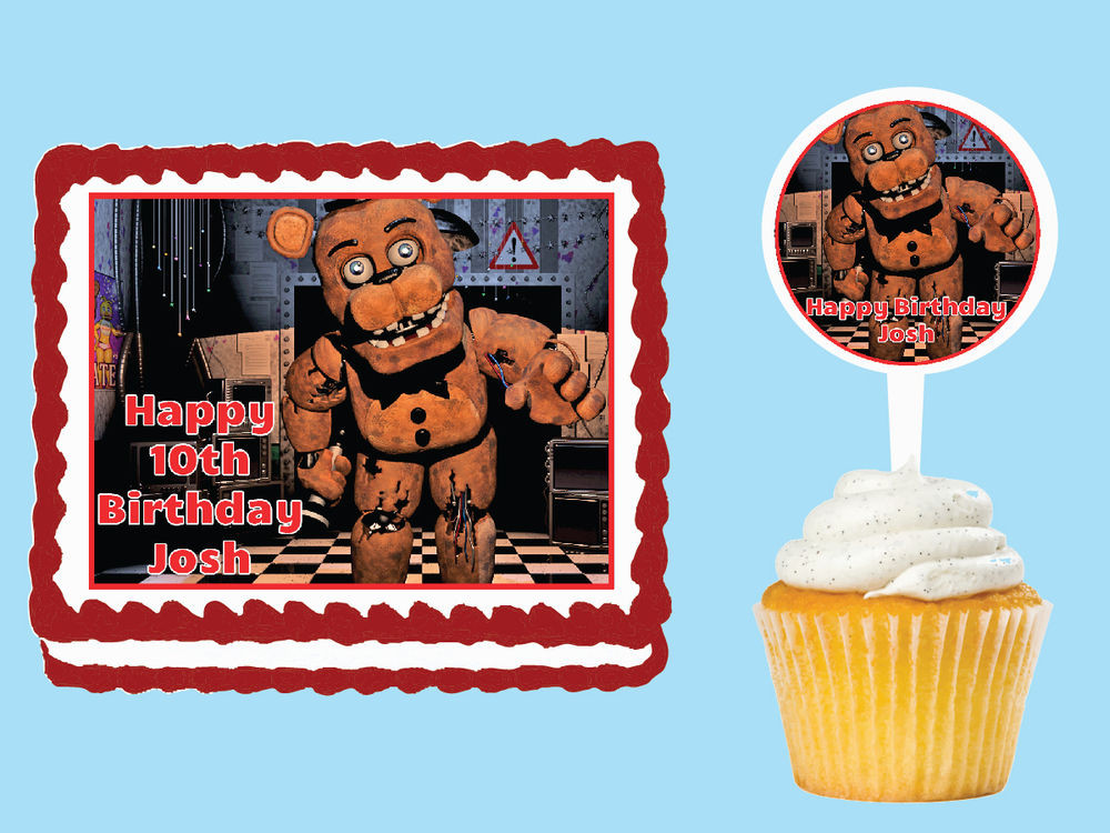 Five Nights At Freddy's Birthday Party  Five Nights at Freddy s Edible Birthday Party Cake Topper