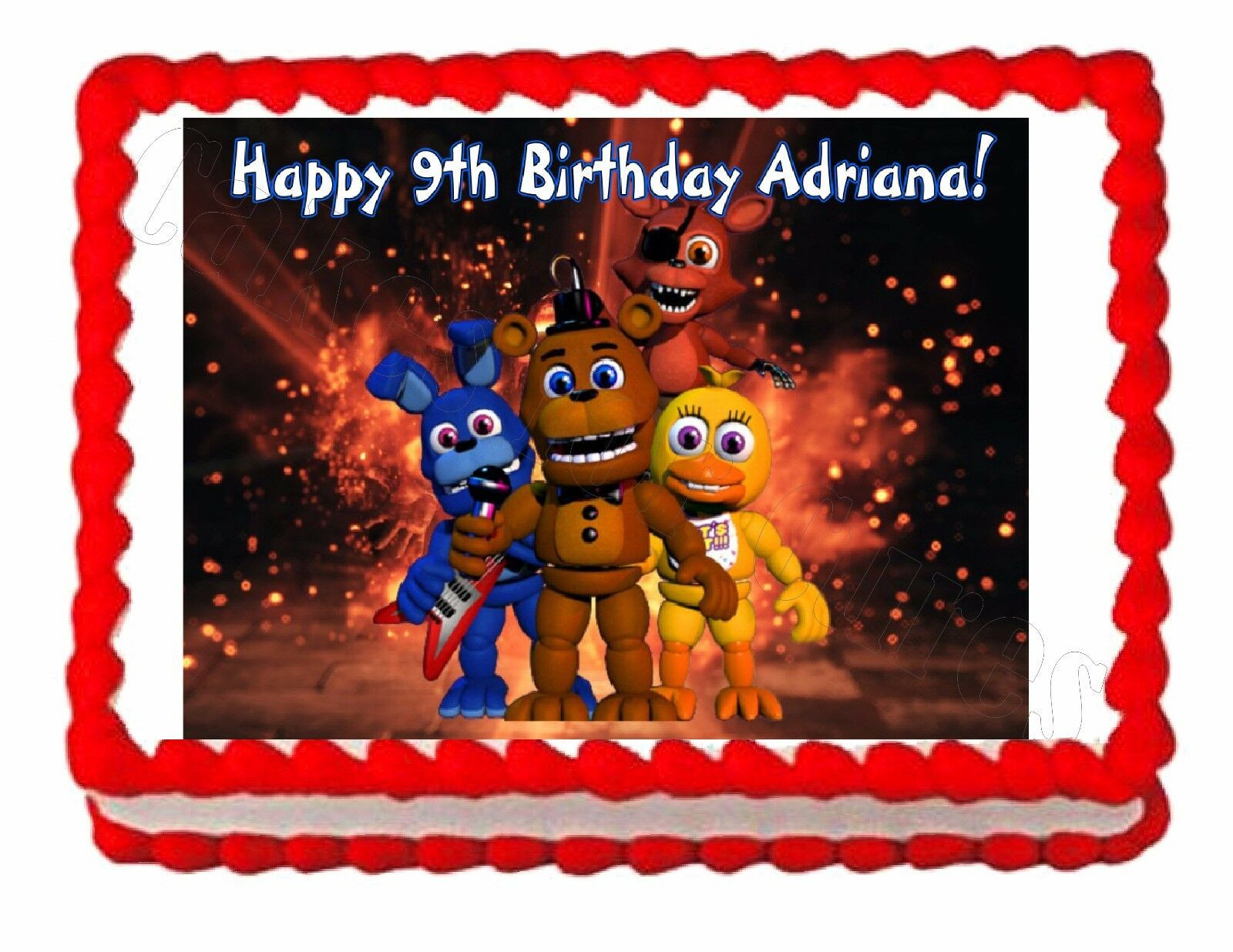 Five Nights At Freddy's Birthday Party  Five nights at Freddy s FNaF 2 party edible image cake