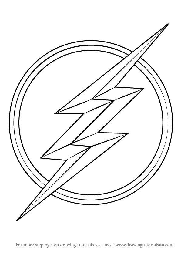 Flash Symbol Coloring Pages  Learn How to Draw The Flash Symbol The Flash Step by