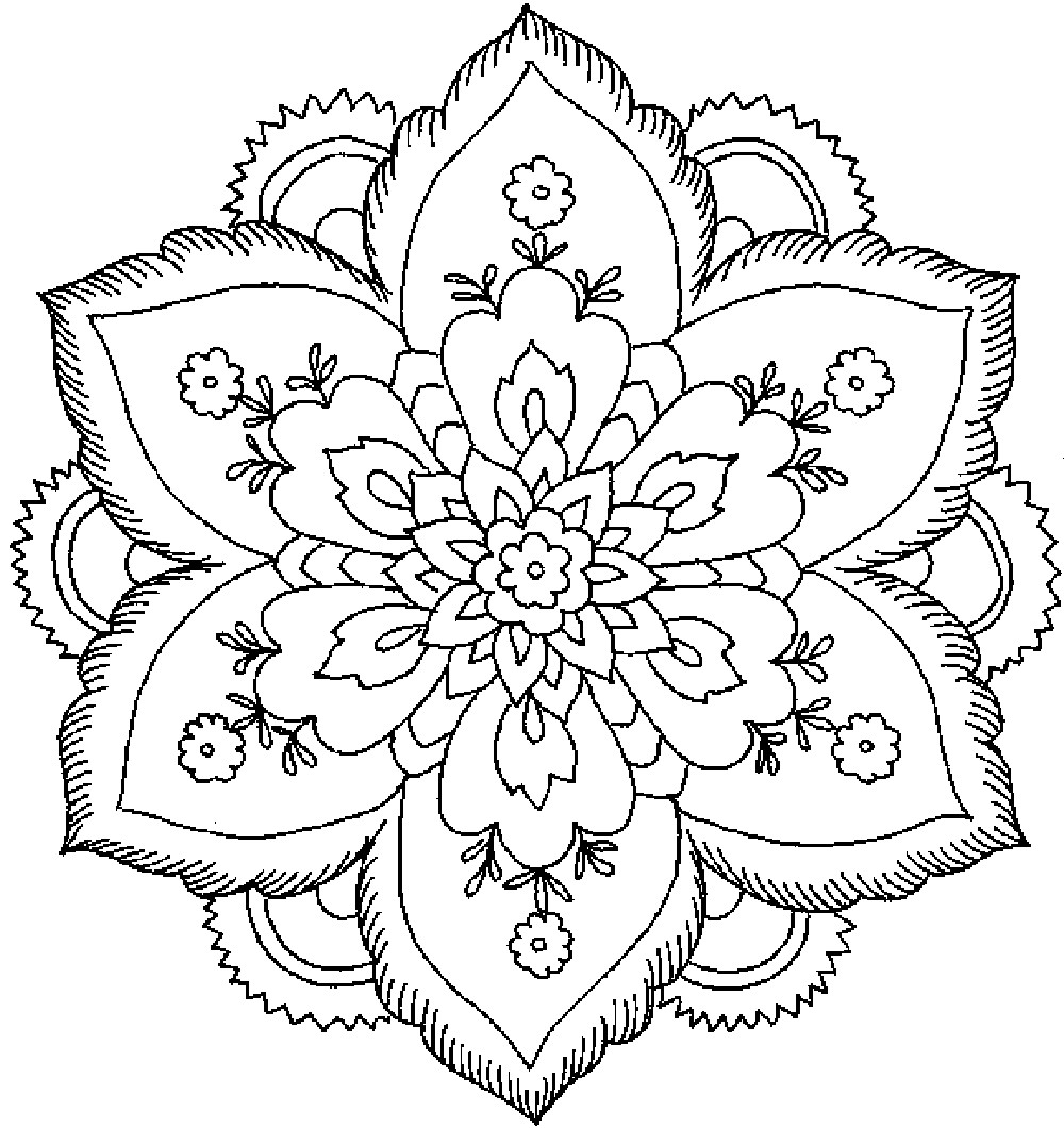 Flower Coloring Pages For Adults Printable  Flower Coloring Pages For Adults Coloring Home