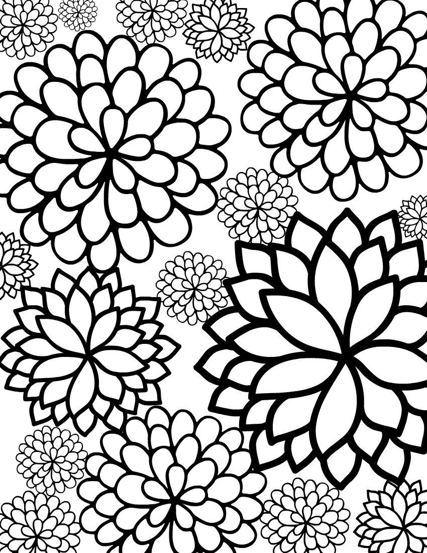 Flower Coloring Pages For Adults Printable  Flower Coloring Pages For Adults
