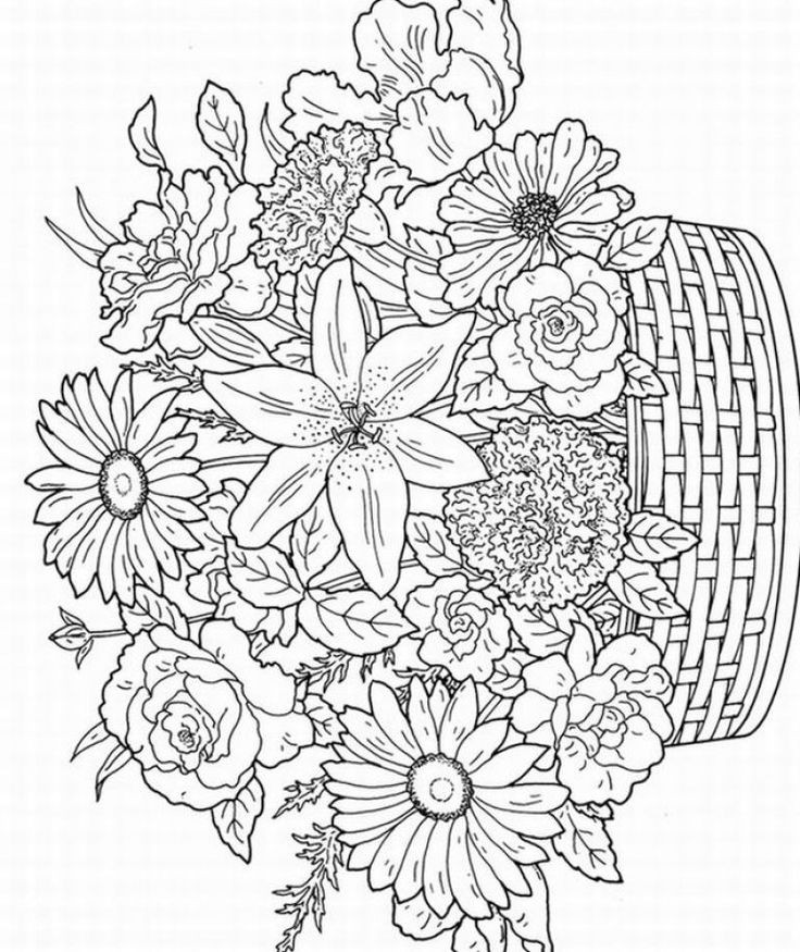 Flower Coloring Pages For Adults Printable  17 Best images about Adult Coloring Pages Art Therapy on