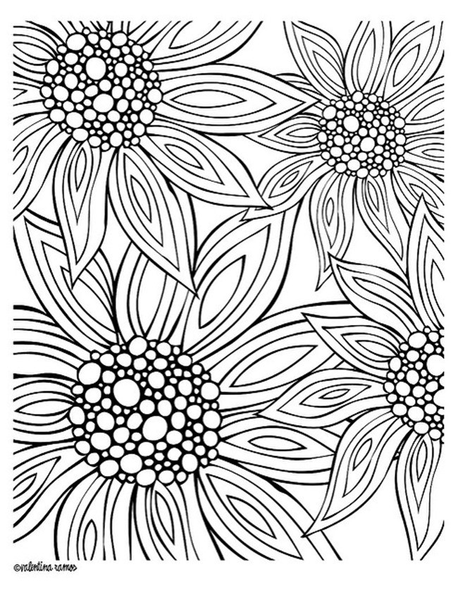 Flower Coloring Pages For Adults Printable  12 Free Printable Adult Coloring Pages for Summer