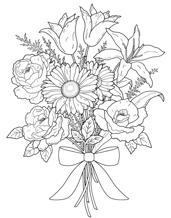 Flower Coloring Pages For Adults Printable  Flower Coloring Pages for Adults Best Coloring Pages For