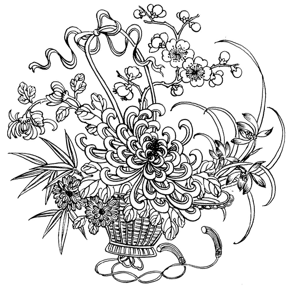 Flower Coloring Pages For Adults Printable  Flower Coloring Pages coloringsuite