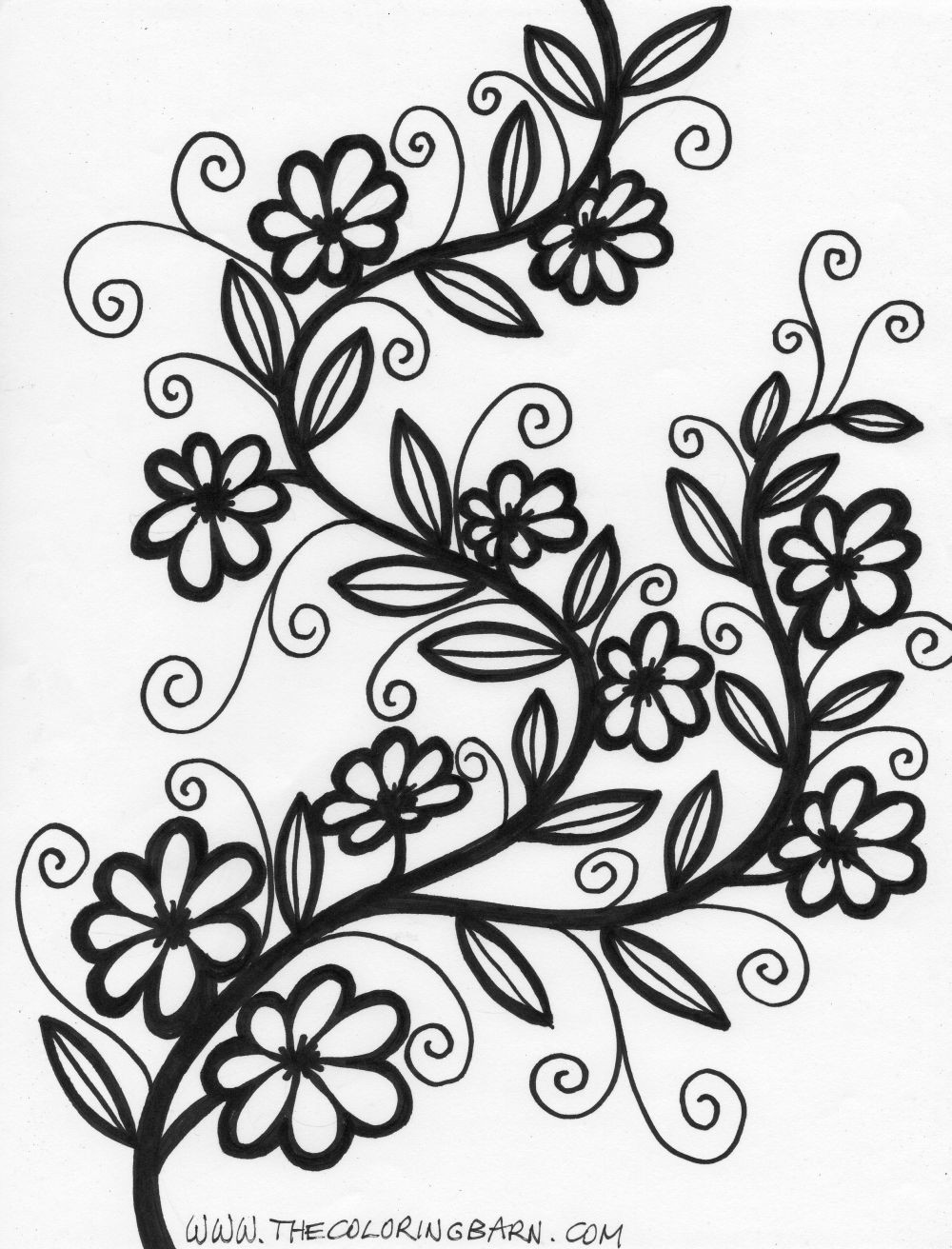Flowers Coloring Sheet  Flower Coloring Pages Bestofcoloring