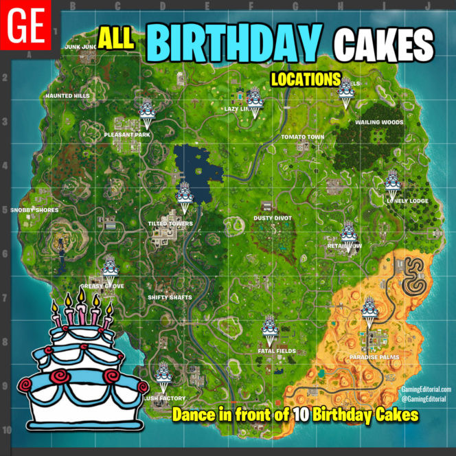 Best ideas about Fortnite Birthday Cake Map . Save or Pin Fortnite All Locations Map Dance at Different Birthday Now.