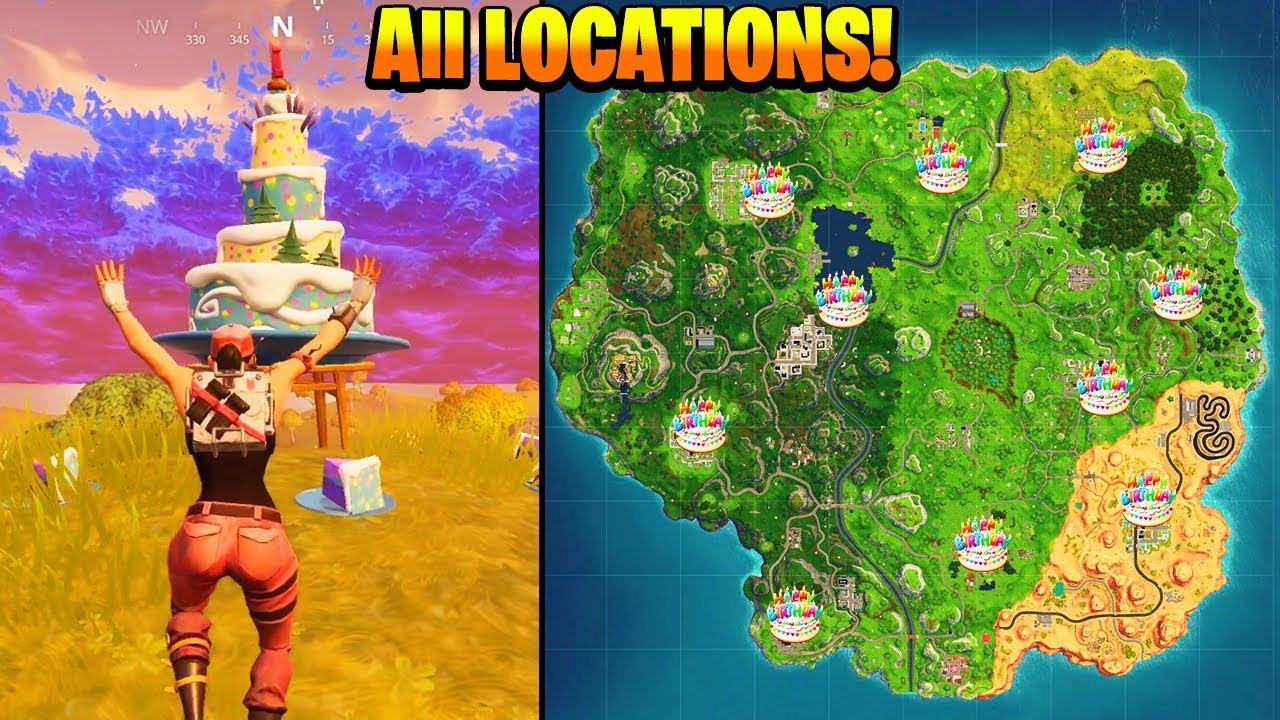"""Best ideas about Fortnite Birthday Cake Map . Save or Pin """"Dance in front of different Birthday Cakes"""" ALL LOCATIONS Now."""