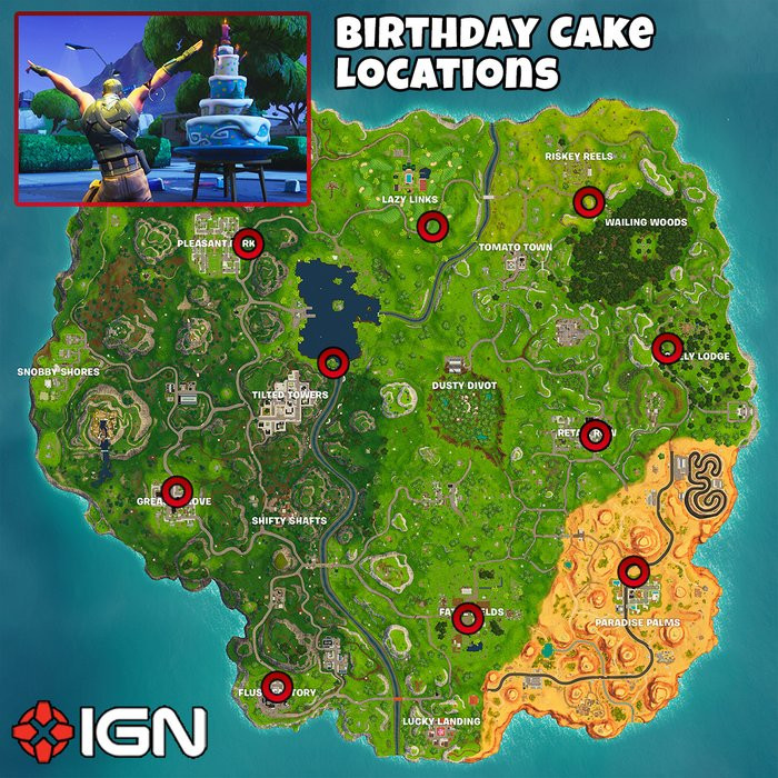 Best ideas about Fortnite Birthday Cake Map . Save or Pin Fortnite Birthday Challenges Dance in Front of Different Now.