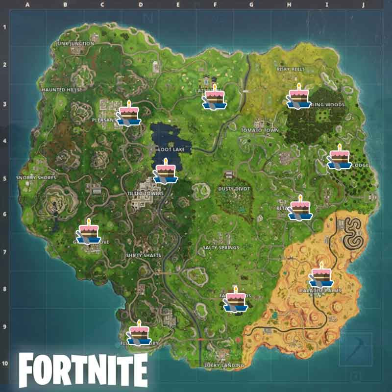 Best ideas about Fortnite Birthday Cake Map . Save or Pin Fortnite Anniversary Challenge where the 10 Birthday cakes Now.