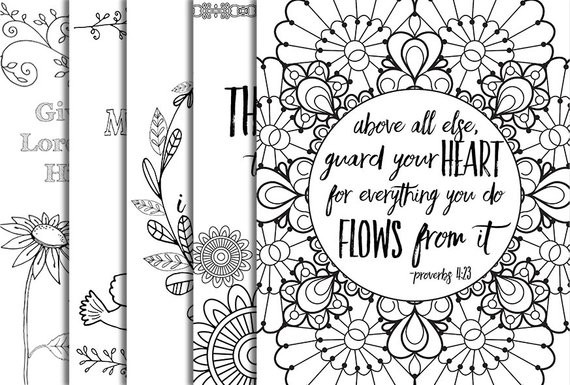 Free Bible Verse Coloring Pages  5 Bible Verse Coloring Pages Set 1 Inspirational Quotes DIY