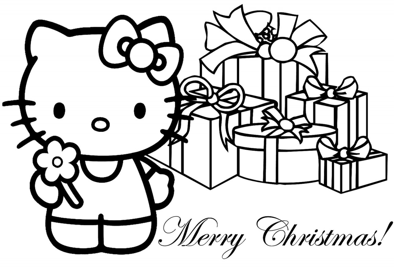 Free Christmas Coloring Pages For Kids  Free Printable Hello Kitty Coloring Pages For Kids
