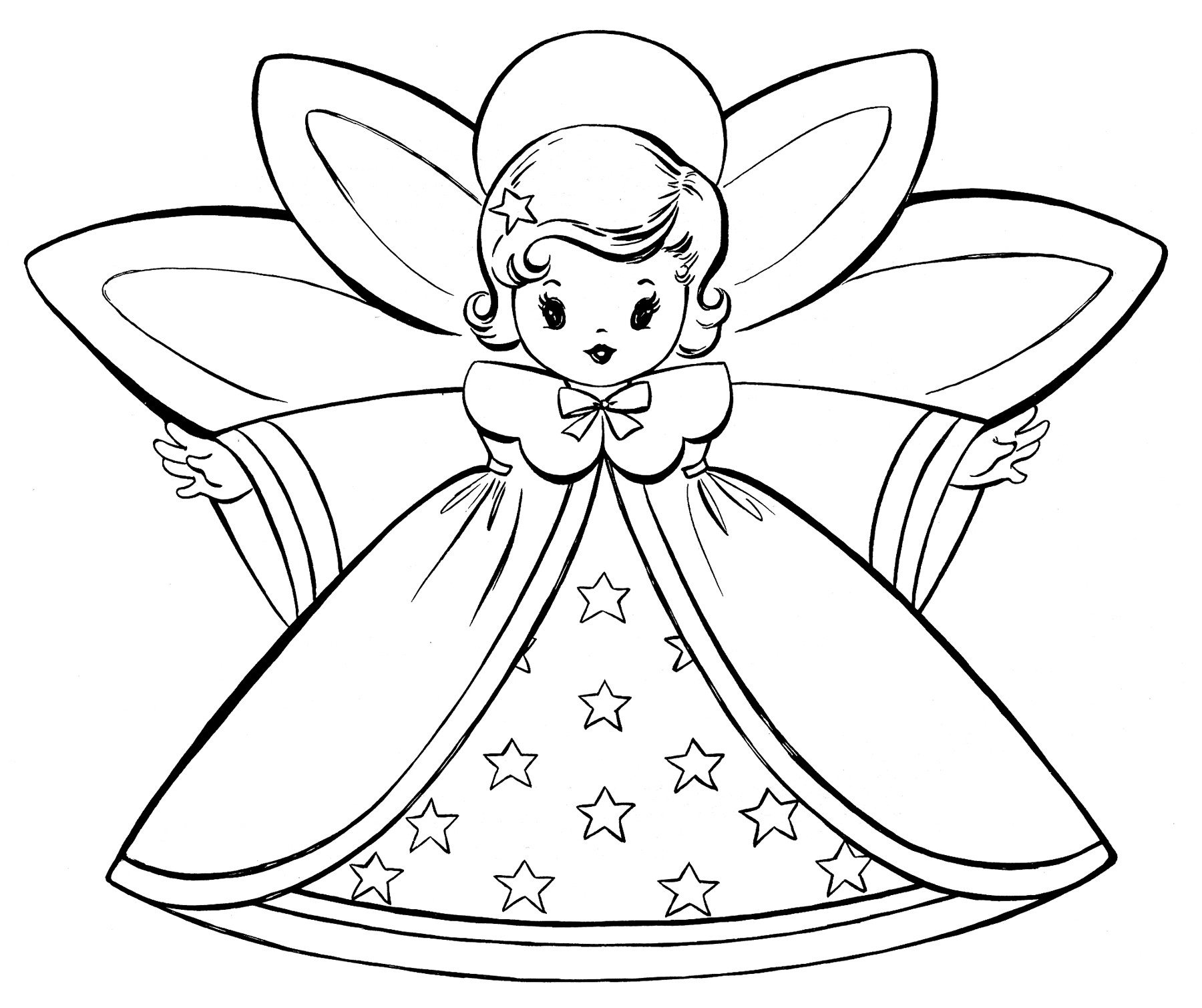 Free Christmas Coloring Pages For Kids  Free Christmas Coloring Pages Retro Angels The