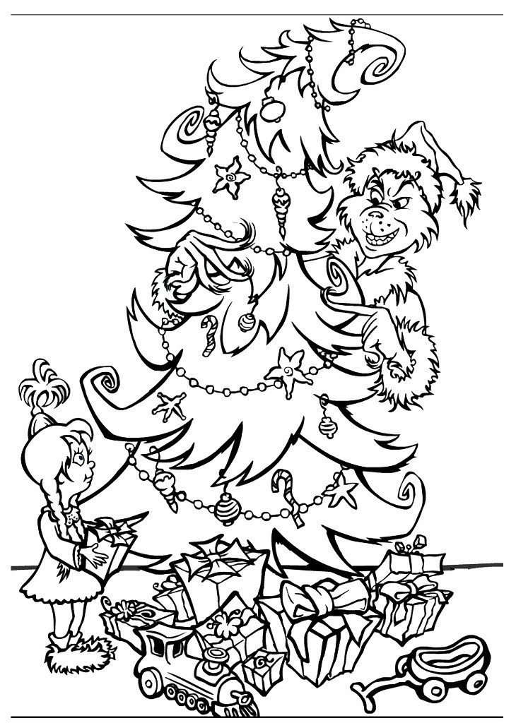 Free Christmas Coloring Pages For Kids  Free Printable Grinch Coloring Pages For Kids