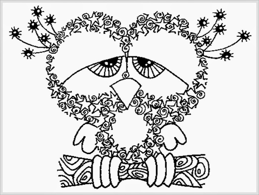Free Coloring Pages Adult  owl coloring pages for adults