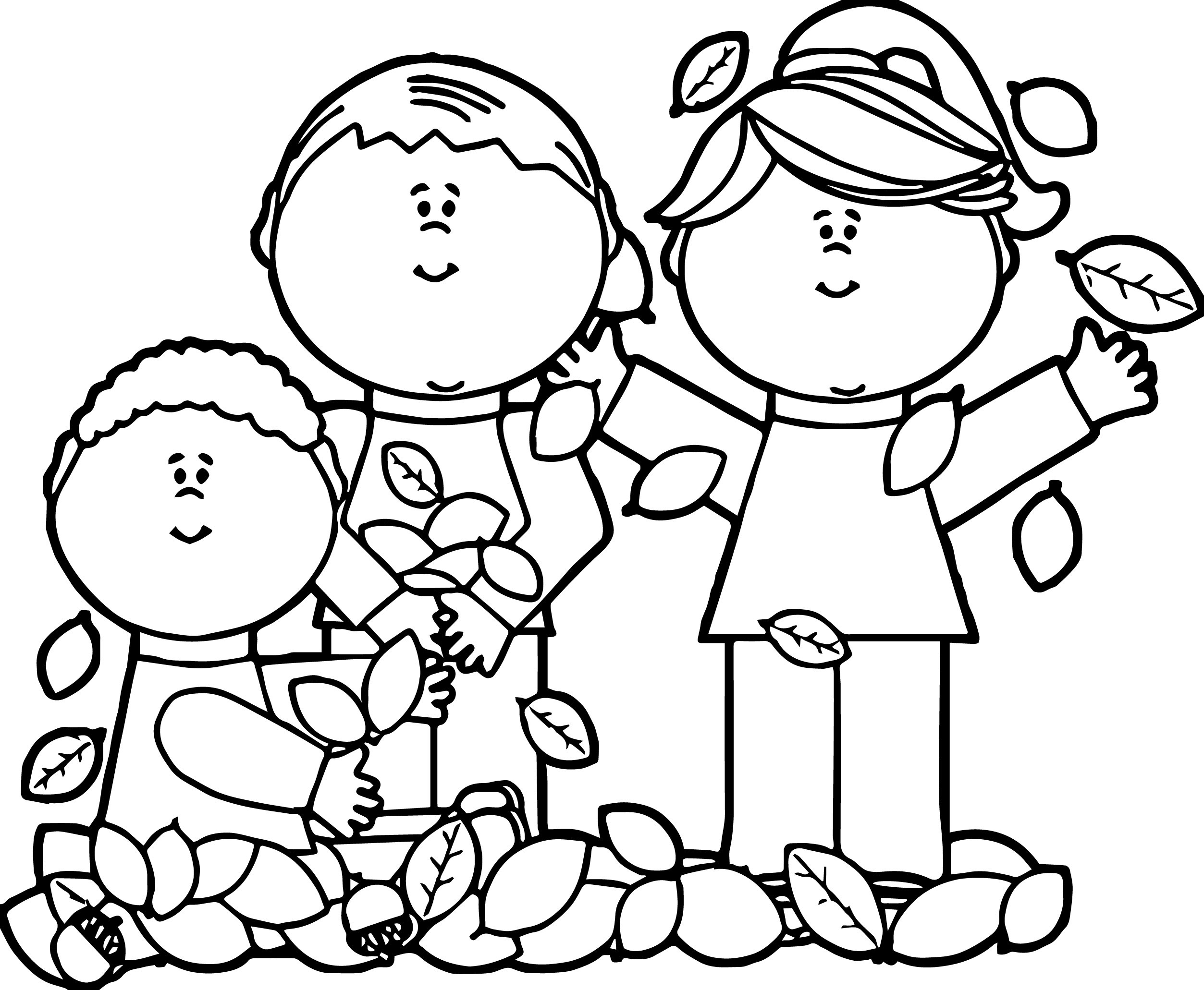 Free Coloring Pages Children Playing  Kids Playing In Leaves Coloring Page