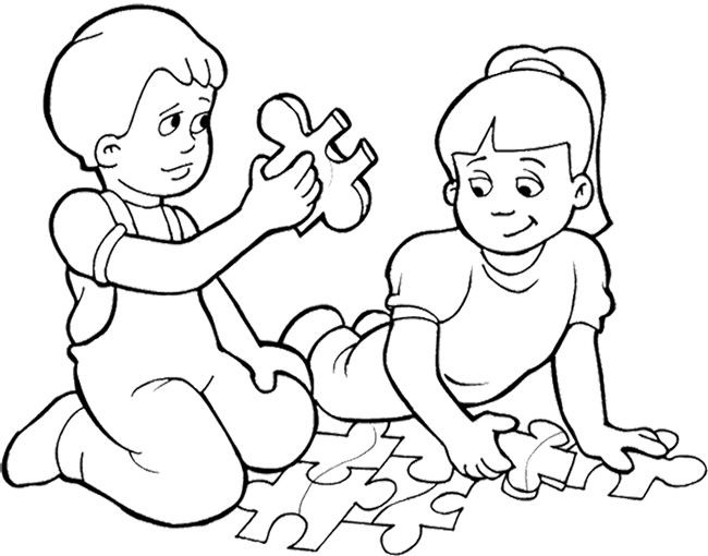 Free Coloring Pages Children Playing  Kids Playing Games Puzzle Coloring Page