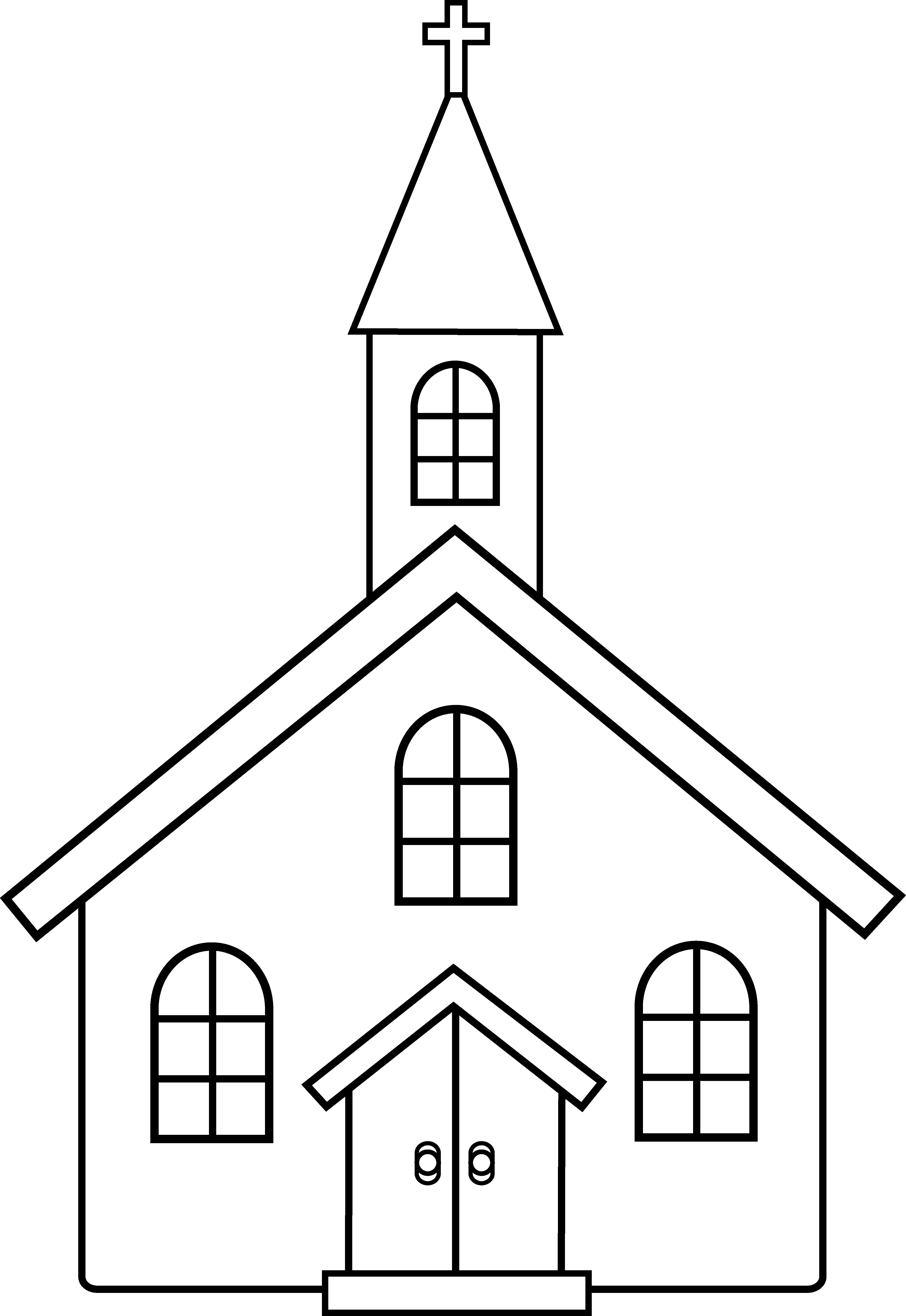 Free Coloring Pages Church  Little Church Line Art Free Clip Art
