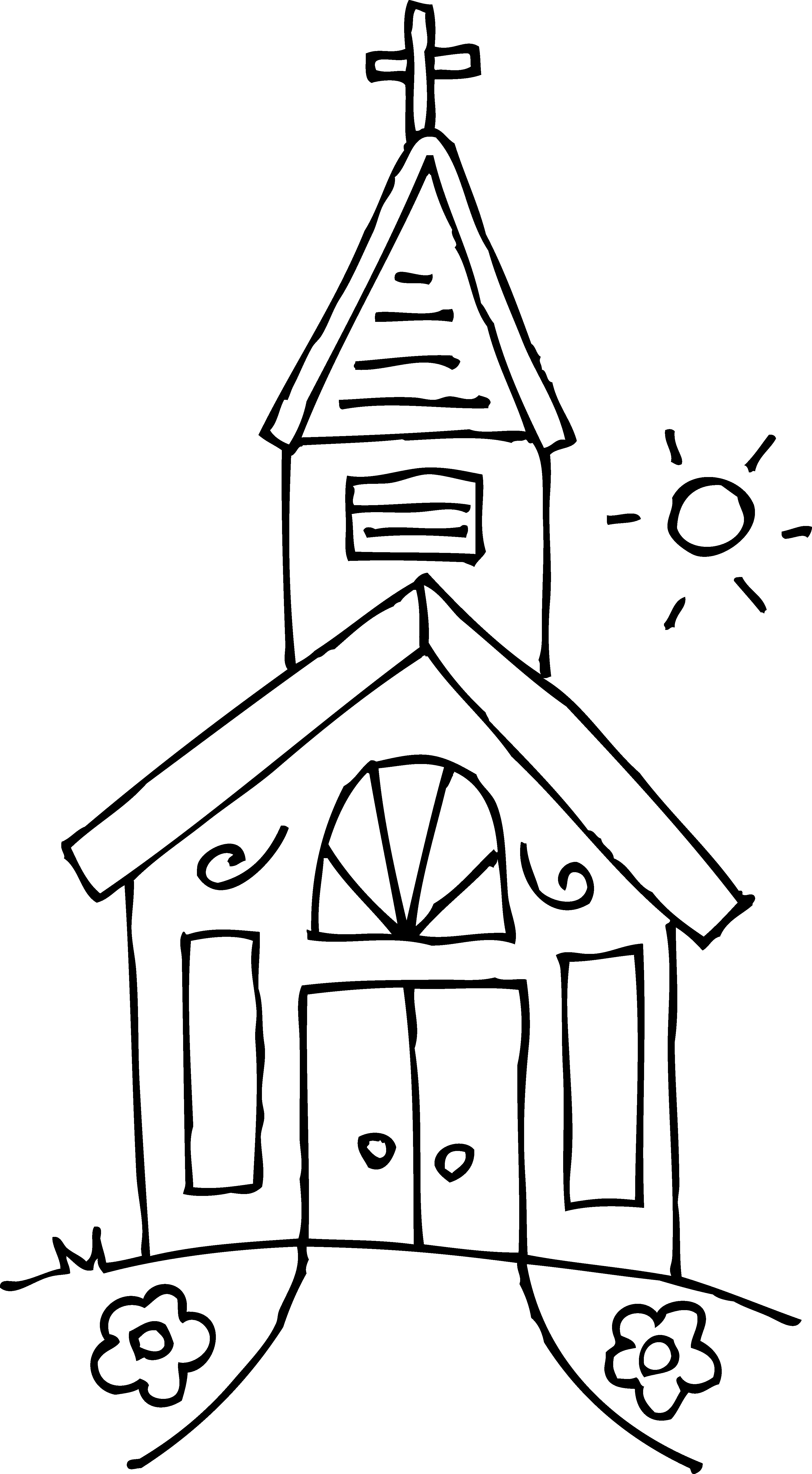 Free Coloring Pages Church  Little Church Coloring Page Free Clip Art