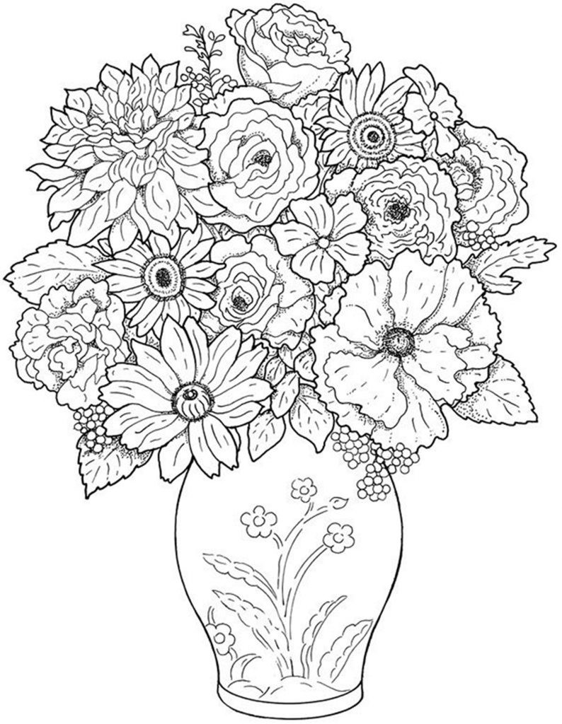 Free Coloring Pages For Adults Printable  Free Printable Flower Coloring Pages For Kids Best
