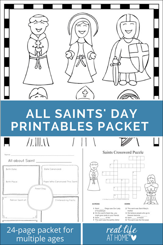 Free Coloring Pages For All Saints Day  Saints Printables and Worksheet Packet All Saints Day